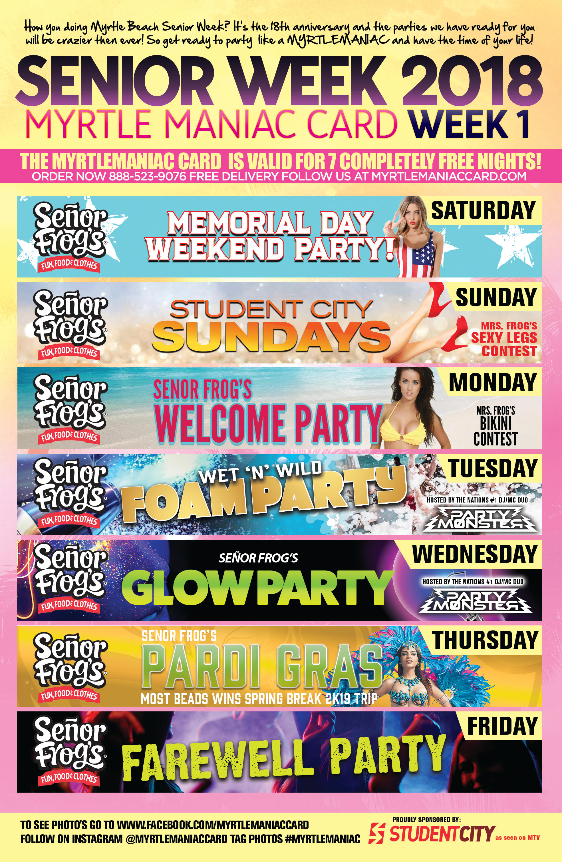 7 Night Entertainment Party Package For Senior Week 2018 In Myrtle Beach Sc The 1 Destination Country